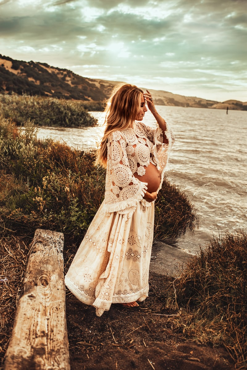 Bay Area Maternity Photography, woman standing next to the water