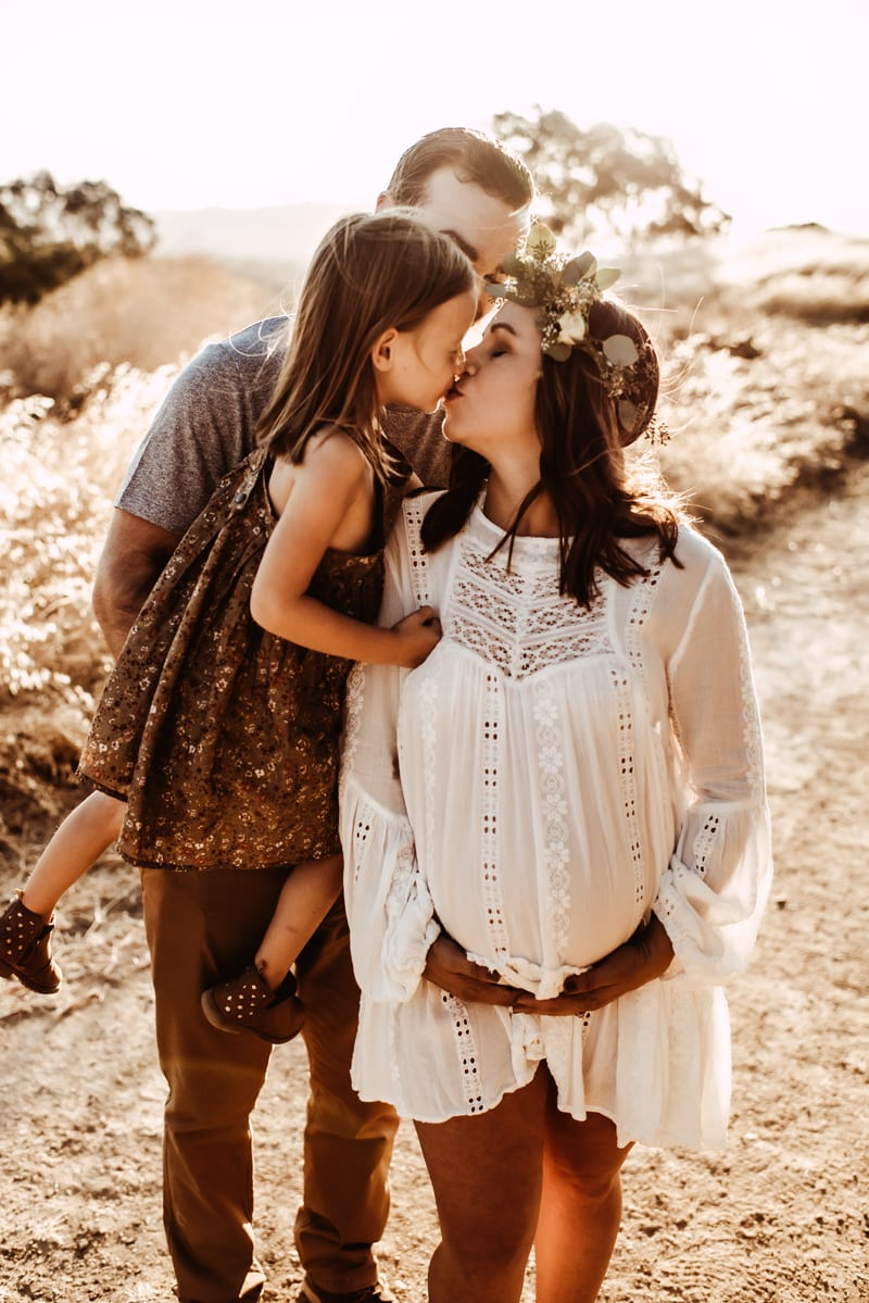 Bay Area Maternity Photography, mother leaning over and kissing mother