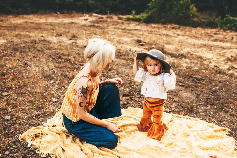 Bay Area Family Photography, mother and daughter try on a hat