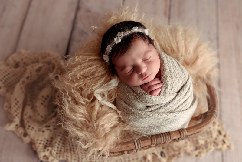 Bay Area Newborn Photography, baby asleep in basket with headband on