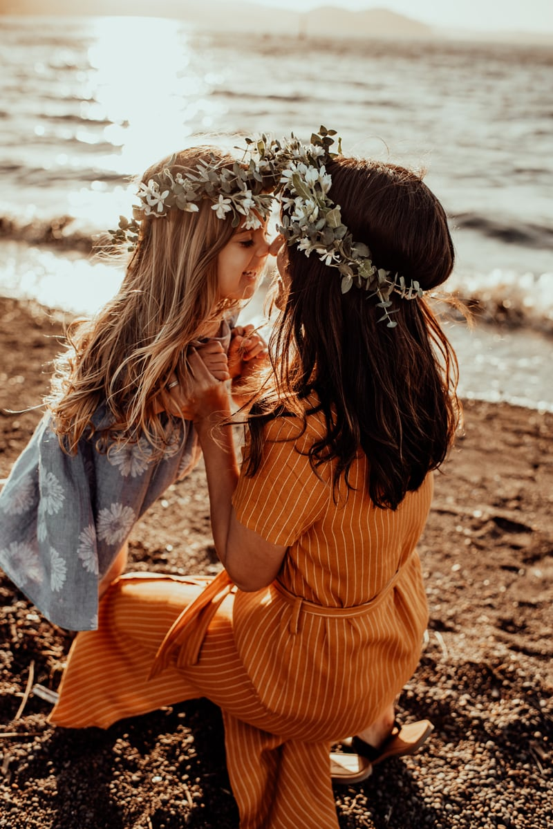 Bay Area Family Photography, mother and daughter with floral crowns