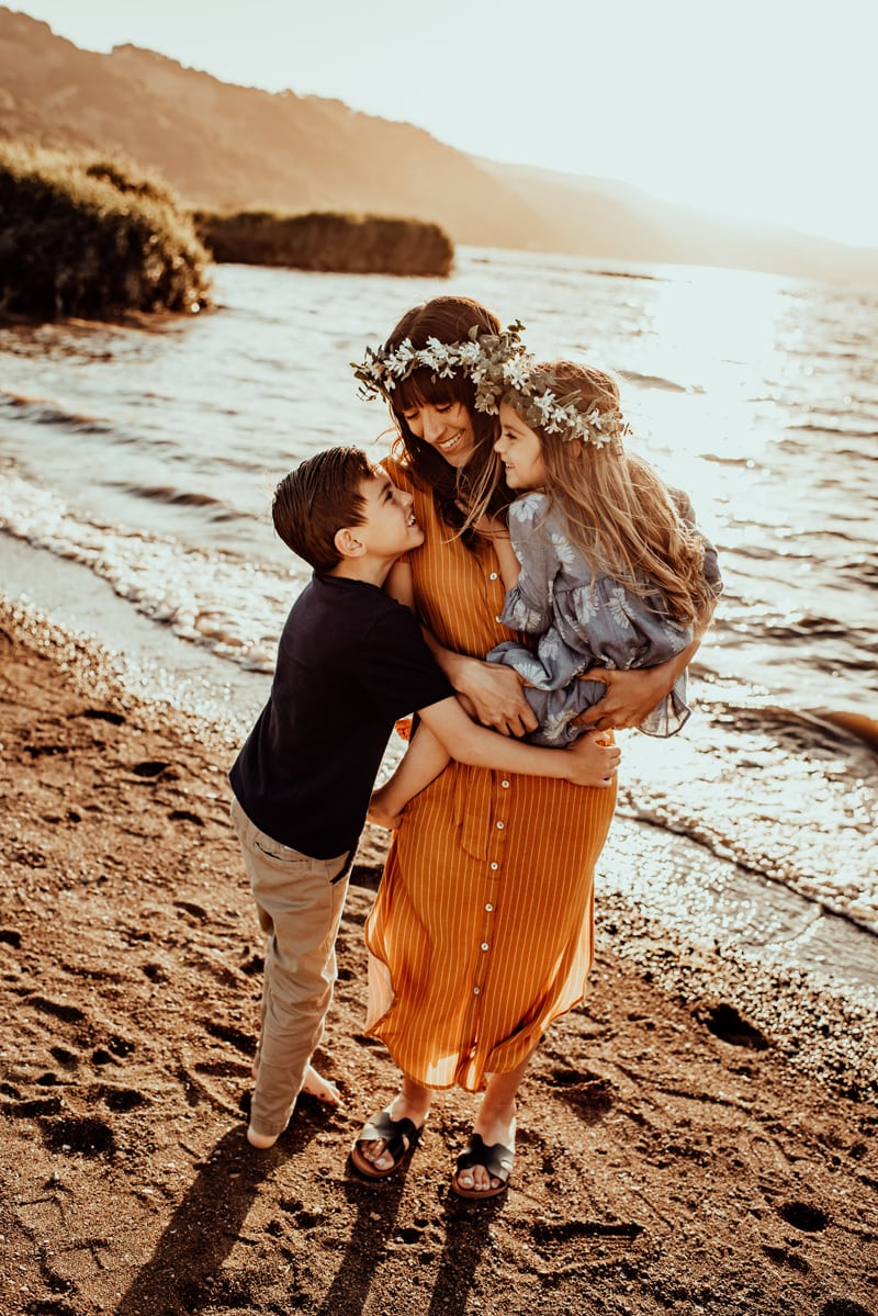 Bay Area Family Photography, mother and two kids at the water's edge