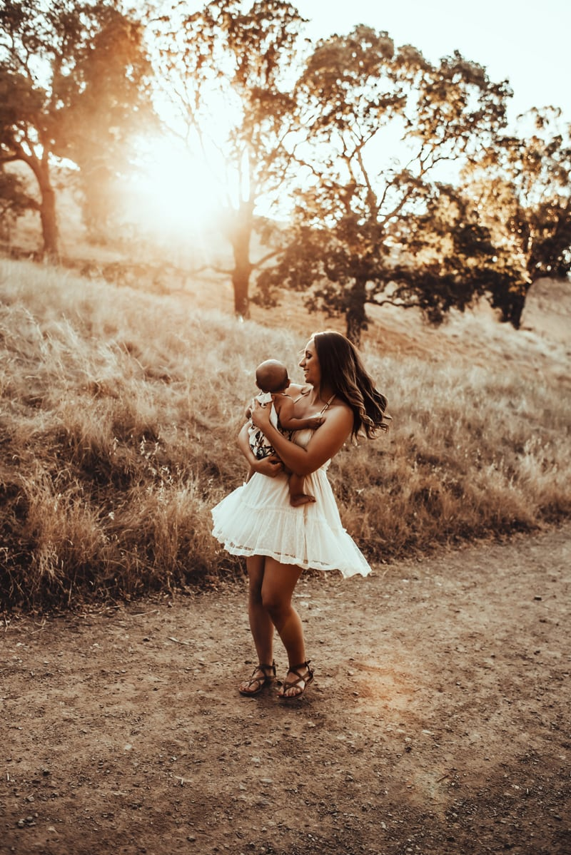 Bay Area Family Photography, mother and baby twirling around together