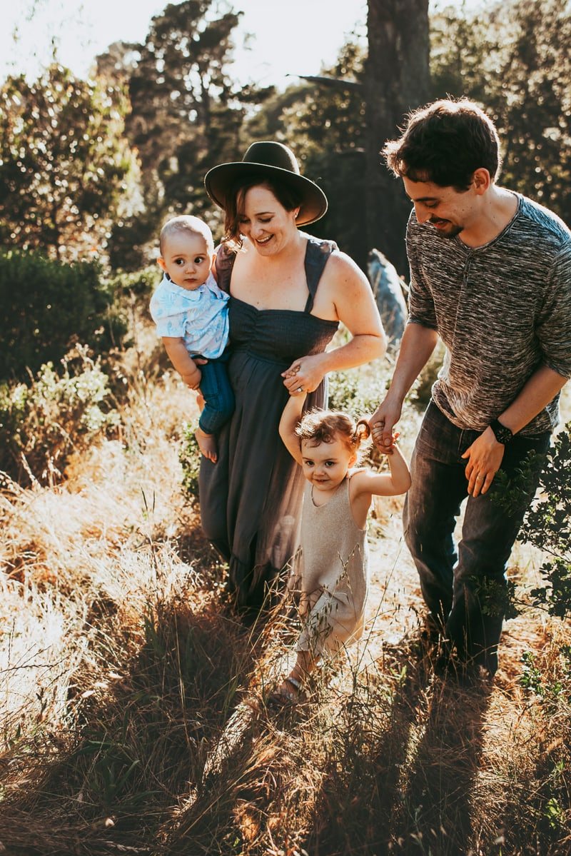 Bay Area Family Photography, family of four walking in a field