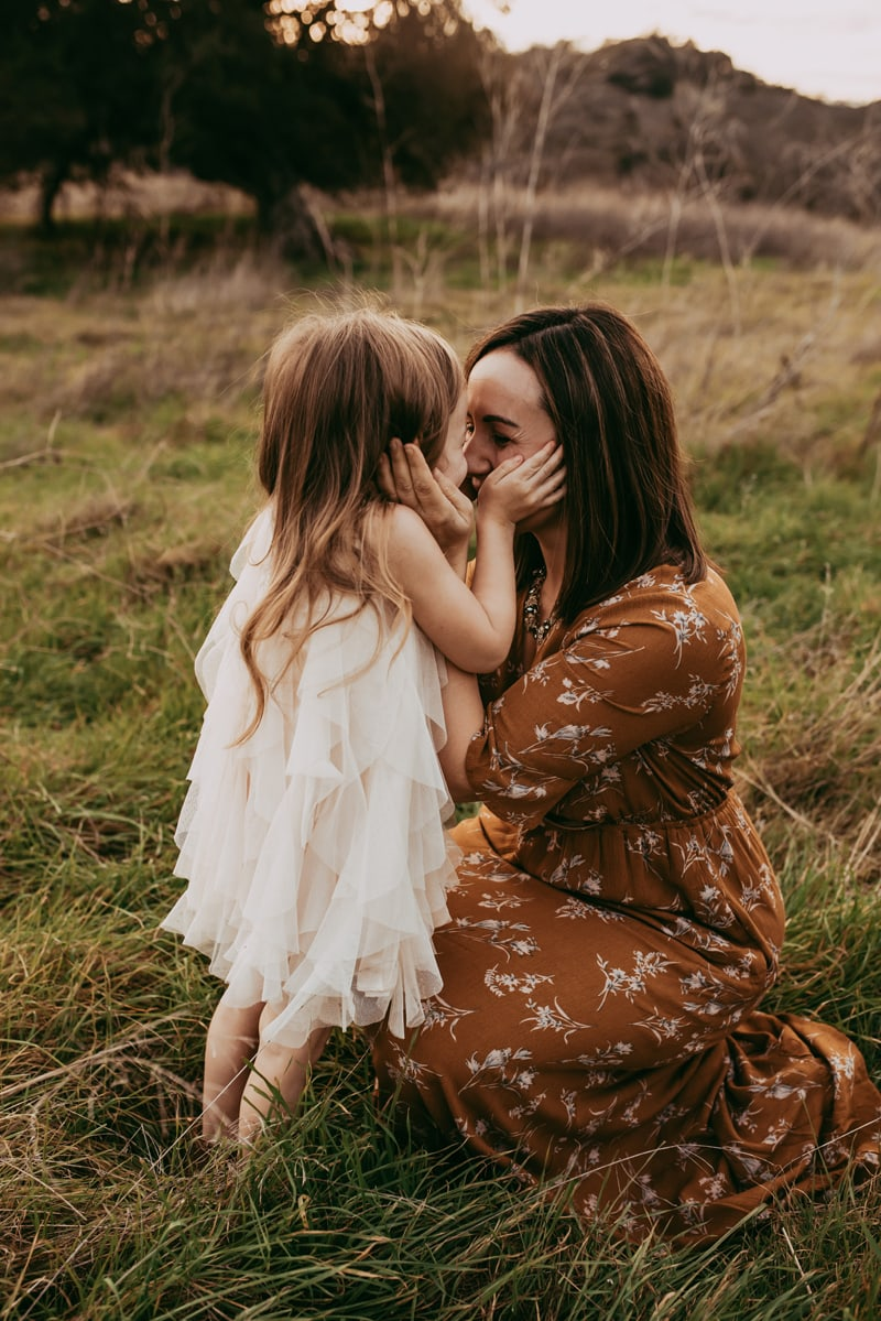 Bay Area Family Photography, mother and daughter kneeling forehead to forehead