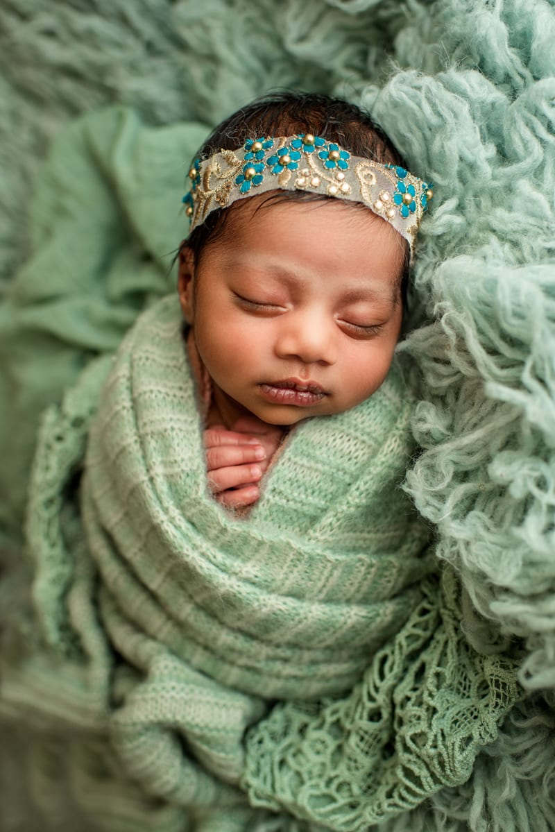 Bay Area Newborn Photography, baby in ornate headband