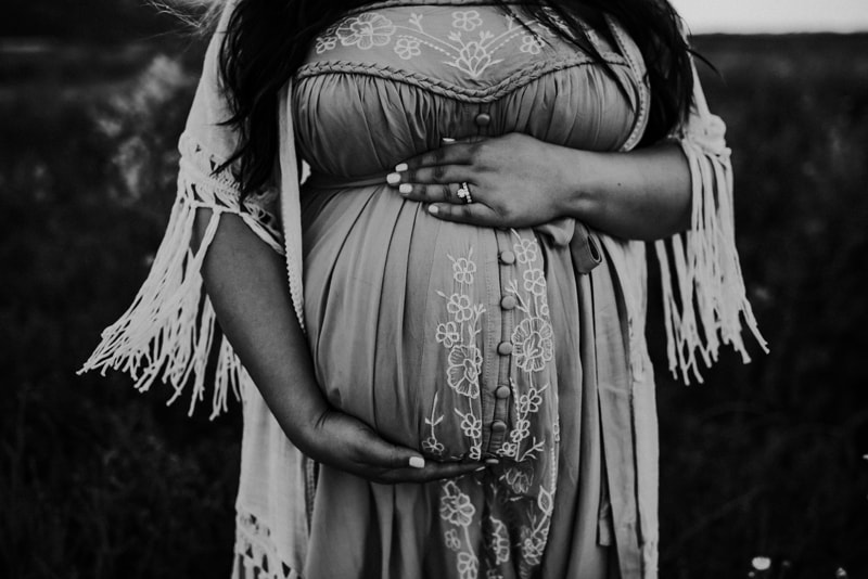 Bay Area Maternity Photography, black and white close up of mother holding her belly