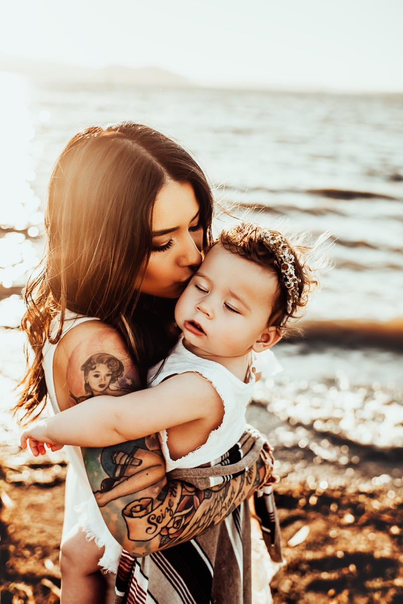 Bay Area Family Photography, mother giving baby girl a kiss