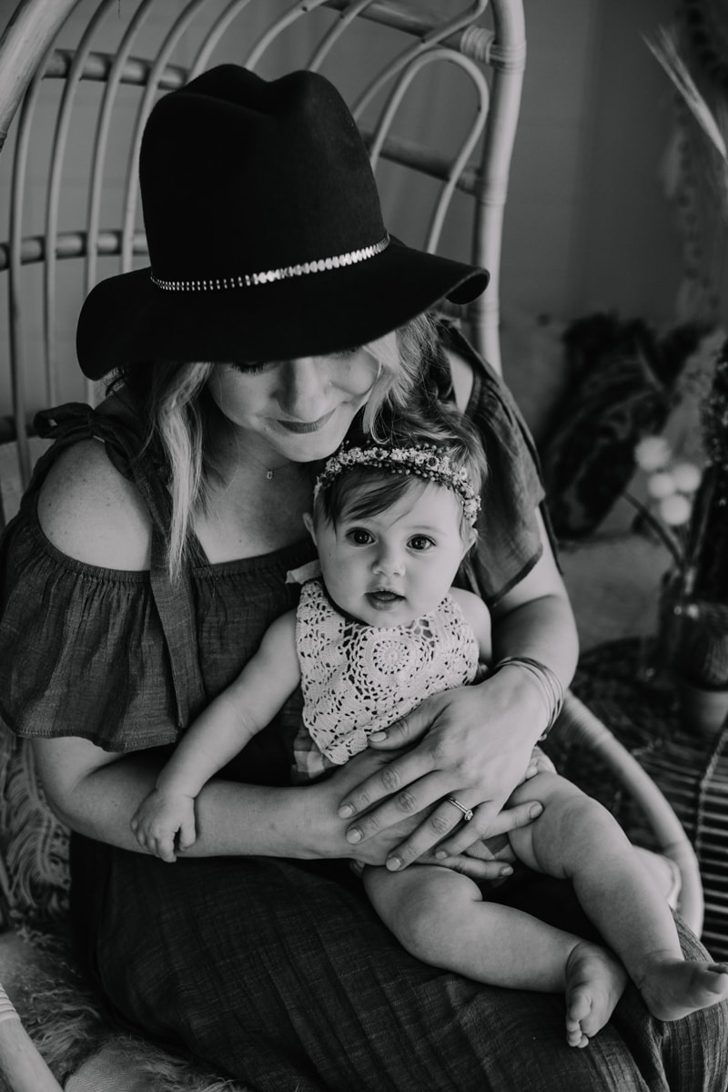 Bay Area Family Photography, mother sitting with baby